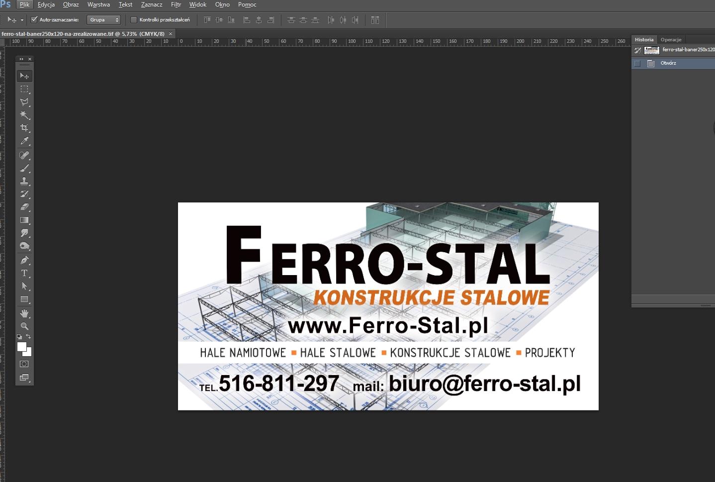 Projekt i druk banera reklamowego.