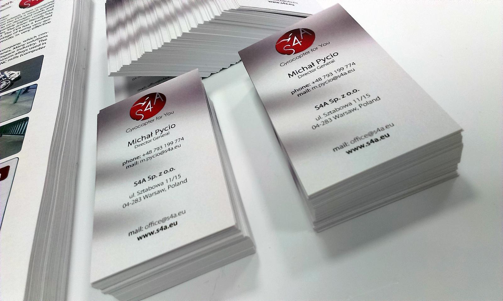 Wizytówki projekt i druk dla S4A.